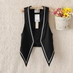 [Preorder] เสื้อแจ๊กเก็ตสูทแฟชั่นแขนกุด สีดำ (ไซส์ S M L) 2014 new Chinese star Shu Qi Zhang Ziyi strongest voice Slim vest with contrast color vest women