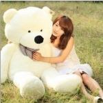 ตุ๊กตาหมียิ้มผูกโบว์ Teddy 1.6 เมตร สีขาว ตุ๊กตาตัวใหญ่น่ารักน่ากอด