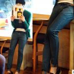 กางเกงยีนส์ขาเดฟแฟชั่น