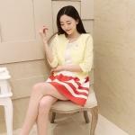 [Preorder] เสื้อคลุมลูกไม้แฟชั่นสไตล์เกาหลีแขนสี่ส่วน สีเหลือง (ไซส์ M L XL XXL) The new women's spring and summer 2014 women's Korean brooch lace blouse shirt jacket sun protection clothing female air conditioning