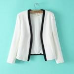 [Preorder] เสื้อสูททำงานแฟชั่นแขนยาวสไตล์ยุโรป สีขาว (ไซส์ S M L) 2014 Hitz European and American style star with Sun Li Gao Yuanyuan placket mixed colors suit women suit jacket