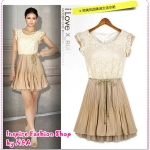 เดรสแฟชั่นลูกไม้แขนสั้นระบาย 2012 a new dress lace chiffon base skirt summer sleeveless chiffon dress crazy weekend purchase