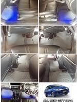 ผ้ายางปูพื้นรถยนต์ ALL NEW CITY 2014 ลายกระดุม สีเทาขอบดำ เต็มคัน 10 ชิ้น