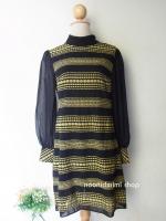 เดรสคอเต่าซีทรูลายจุดสีเหลืองดำ Black Yellow Polka Dot Turtle Neck Dress