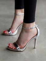(พร้อมส่ง) รองเท้าส้นสูง สีเงิน มีไซด์ 38