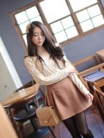 R.J.Story เสื้อแฟชั่นเกาหลีแขนปีกค้างคาวสีครีมแต่งด้วยผ้าโครเชเนื้อผ้าใส่สบายนะค่ะ