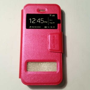 เคสไอโฟน 5/5S/SE ฝาพับรับสาย สีชมพู