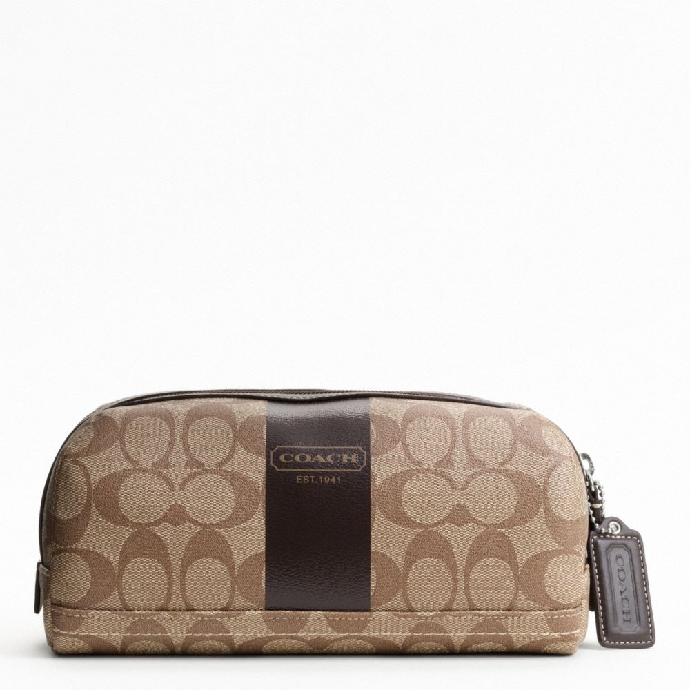 COACH F77279 - Heritage Stripe Travel Kit - Khaki/Brown