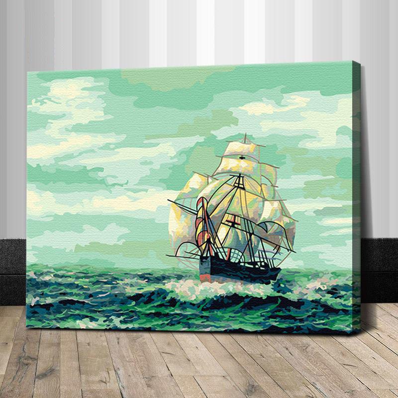 """TG092 ภาพระบายสีตามตัวเลข """"เรือสำเภากลางทะเล"""""""