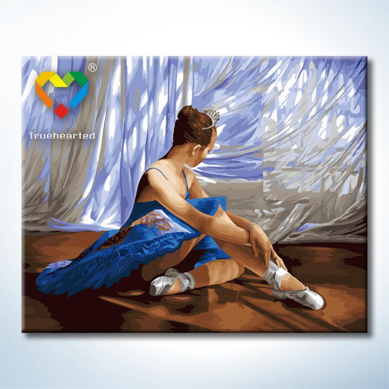 """TG377 ภาพระบายสีตามตัวเลข """"นักบัลเล่ต์สาวชุดน้ำเงิน"""""""
