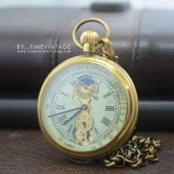 นาฬิกาพกไขลานแบบโบราณตัวเรือนทองแดงหน้าเปลื่อย ระบบMoonphase