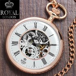 นาฬิกาพกกลไกไขลานหน้าเปลื่อยBrandรอยัลลอนดอน สีแดงโรส ***พรีออร์เดอร์***