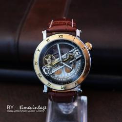 นาฬิกาข้อมือกลไก Automatic ดีไซด์ Luxury Metal Art Design #1 โครงสีทองขัด (พร้อมส่ง)