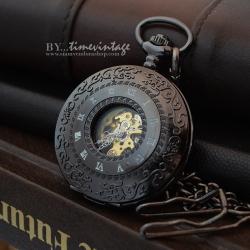 """นาฬิกาพกไขลานลายเถาวัลย์สีดำ """"Archaize Black Carve Hollow Classic""""(พร้อมส่ง)"""