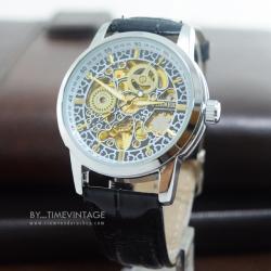 นาฬิกาข้อมือระบบกลไกไขลาน พื้นลายฉลุเถาวัลย์สีทอง-เงิน (พร้อมส่ง)