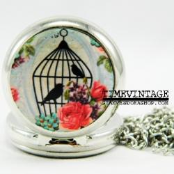 สร้อยคอนาฬิกา ลาย Bird House-A พร้อมใส่รูป
