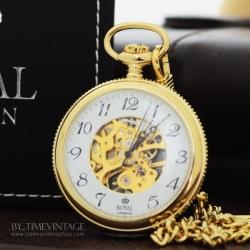 ***พรีออร์เดอร์***นาฬิกาพกกลไกไขลานหน้าเปลื่อยBrandรอยัลลอนดอน สีทอง เลขอารบิค