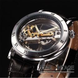 นาฬิกาข้อมือกลไกAutomatic ดีไซด์ Luxury Metal Art Design #2โครงสีเทาขัด