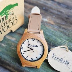 นาฬิกาข้อมือไม้ไผ่ธรรมชาติ สายหนังสีน้ำตาล- Classic Brown (พร้อมส่ง)
