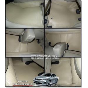 ยางปูพื้นรถยนต์ ALTIS 2008-2013 พรมกระดุมpvc รุ่น minimat กระดุมเม็ดเล็ก สีครีม (full option)