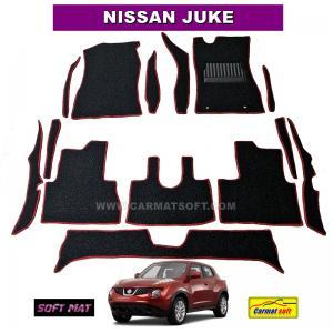 พรมดักฝุ่นไวนิล NISSAN JUKE สีดำขอบแดง เต็มคัน พรมกระดุม สวยงาม เข้ารูป100% เหยียบนุ่มสบายเท้า ดักฝุ่น ดักทราย กันน้ำ ได้ดีที่สุด...ส่งฟรี