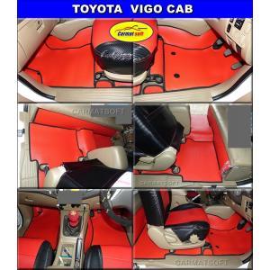 พรมกระดุมเม็ดเล็ก VIGO CAB สีแดงขอบดำ เต็มคัน เข้ารูป100%
