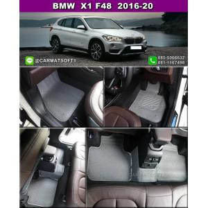 ยางปูพื้นรถยนต์ BMW X1 F48 2016-20 รุ่น MiniMat Premium กระดุมเม็ดเล็ก PVC รีดขอบ สีเทา