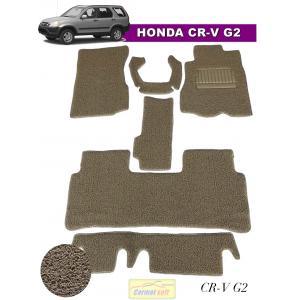 พรมดักฝุ่นรถยนต์ HONDA CR-V G2 รุ่น VINYL MAT เย็บขอบ สีครีม