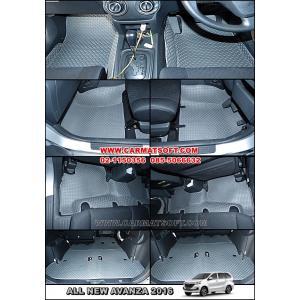 พรมปูพื้นรถยนต์ NEW AVANZA 2016 ลายกระดุมสีเทา 18 ชิ้น เต็มคัน เข้ารูป 100% (พื้นหลังเรียบ)