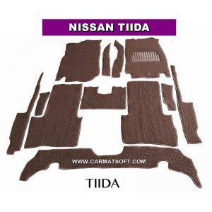 พรมดักฝุ่นไวนิล NISSAN TIIDA สีน้ำตาล เต็มคัน สวยงาม เข้ารูป100% หนานุ่ม เหยียบนุ่มสบายเท้า ดักฝุ่น ดักทราย กันน้ำ ได้ดีที่สุด...ส่งฟรี