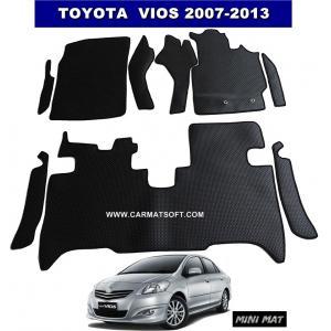ยางปูพื้นรถยนต์ VIOS 2007-2013 รุ่น minimat กระดุมเม็ดเล็ก สีดำ เต็มคัน พรมกระดุม vios ตัดเข้ารูป สวยงาม ทนทานที่สุด ป้องกันน้ำ กันโคลน กันเปื้อนได้ดี ...ส่งฟรี