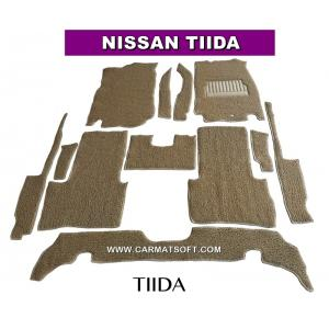 พรมดักฝุ่นไวนิล NISSAN TIIDA สีครีม เต็มคัน สวยงาม เข้ารูป100% หนานุ่ม เหยียบนุ่มสบายเท้า ดักฝุ่น ดักทราย กันน้ำ ได้ดีที่สุด...ส่งฟรี