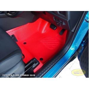 พรมปูพื้นรถยนต์ TOYOTA C-HR HYBRID 2018 กระดุมเม็ดเล็กรีดขอบ สีแดง เต็มคัน