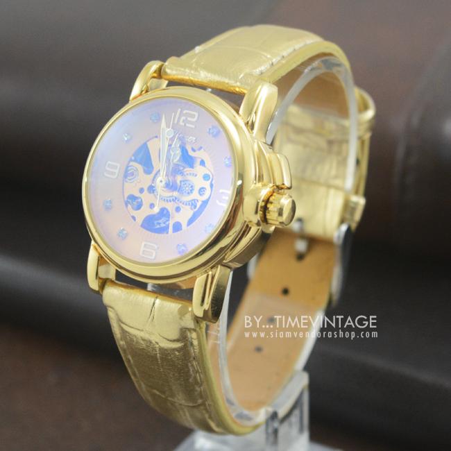 นาฬิกาข้อมือกลไกผู้หญิง หน้าปัทม์ทองเรือนทองสายสีทอง Reloj Mujer (พร้อมส่ง)