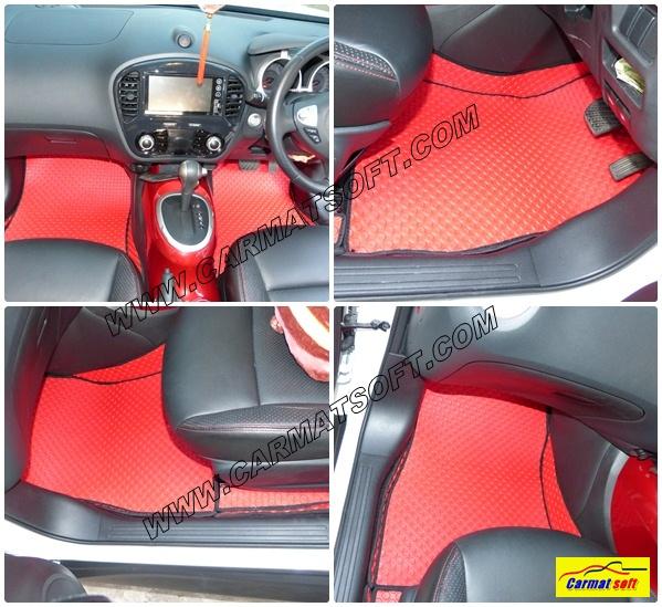 พรมปูพื้นรถยนต์ NISSAN JUKE ลายกระดุม สีแดง 14 ชิ้น เต็มคัน