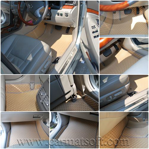 ยางปูพื้นรถยนต์ CAMRY2007-2011ลายกระดุม 14 ชิ้น พื้นเรียบ+กันสึก