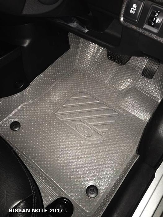 พรมปูพื้นรถยนต์ NISSAN NOTE 2017 กระดุมเม็ดเล็กรีดขอบ สีเทา เต็มคัน เข้ารูป100%