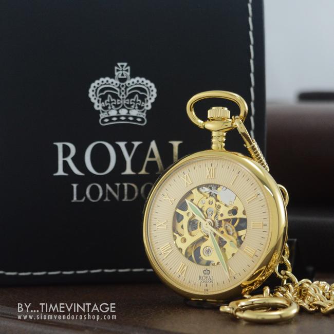 ***พรีออร์เดอร์***นาฬิกาพกกลไกไขลานหน้าเปลื่อยBrandรอยัลลอนดอน สีทอง