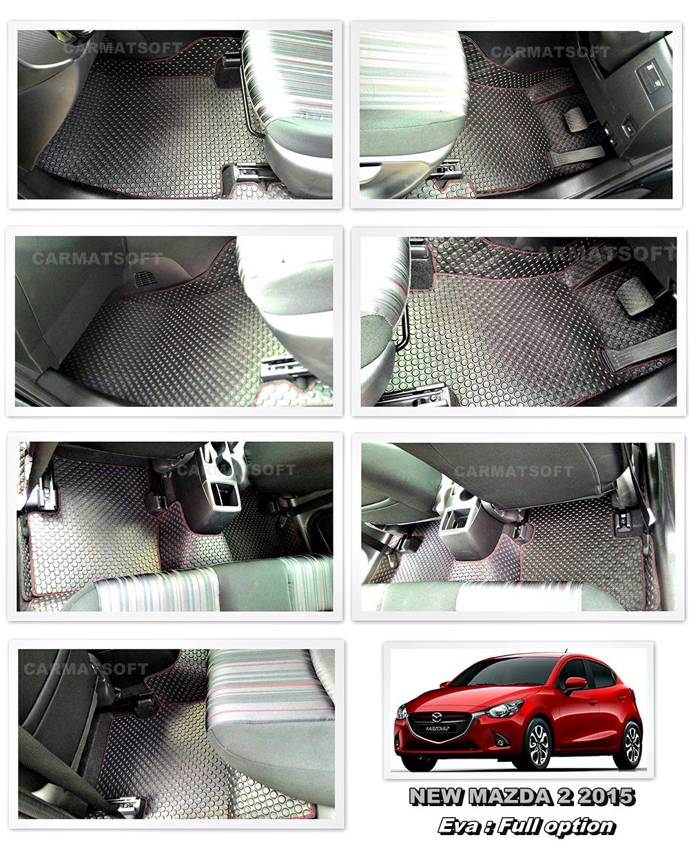 พรมปูพื้นรถยนต์ ALL NEW MAZDA2 ลายกระดุม สีดำด้ายแดง เต็มคัน เข้ารูป100% (พื้นหลังเรียบ+ตีนตุ๊กแก)