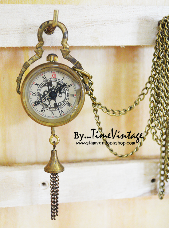 นาฬิกาพกทรงกลมกระดิ่งทอง ระบบไขลานกลไกทองแดงแท้ 100%
