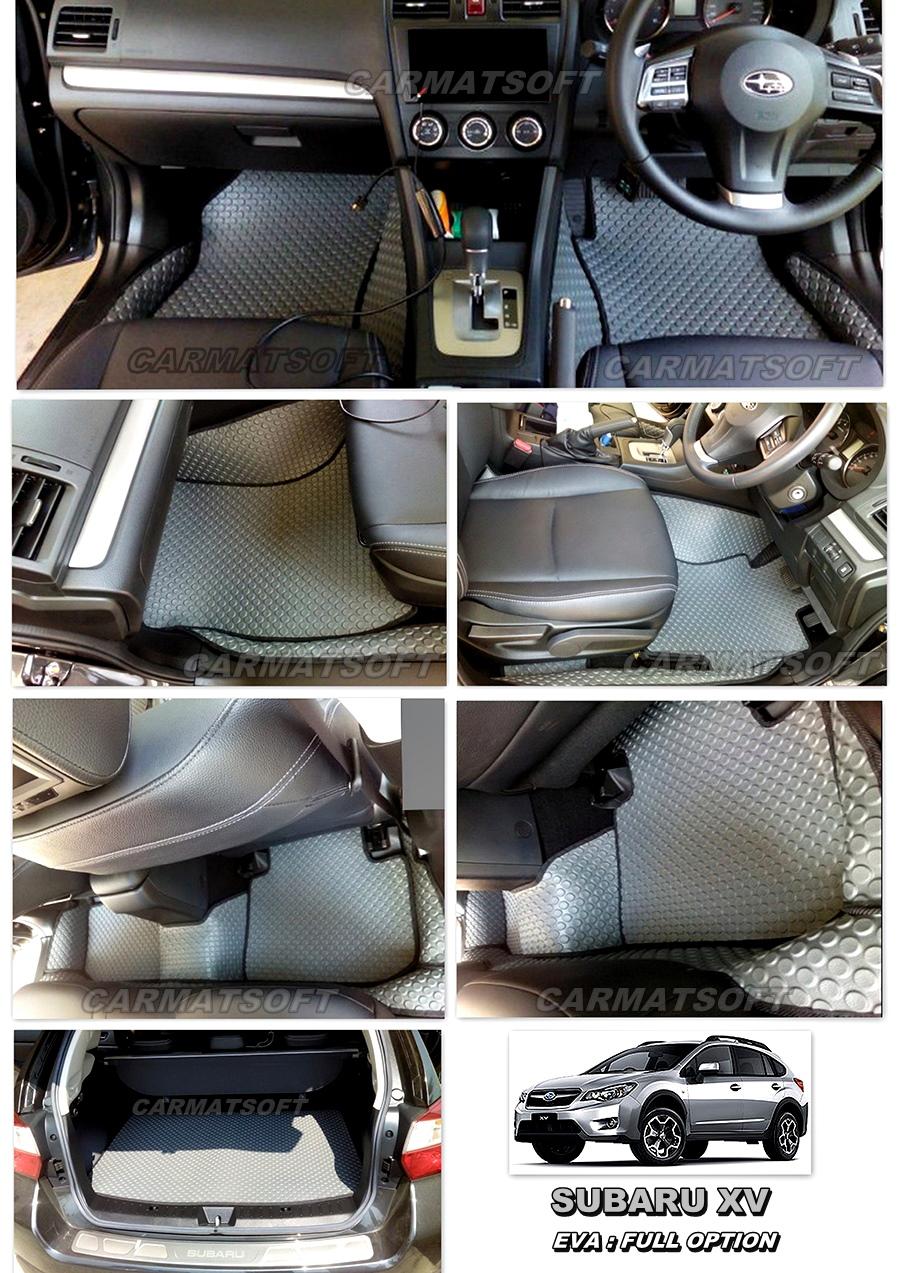 พรมปูพื้นรถยนต์ SUBARU XV ลายกระดุมสีเทาขอบดำดำ Full option+แผ่นปูท้าย เข้ารูป 100%