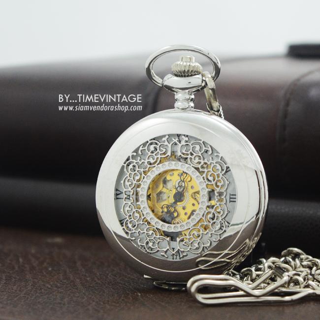 นาฬิกาลายไทยเถาวัลย์ระบบกลไกไขลานสีเงินเงา โชว์เครื่องกลไก