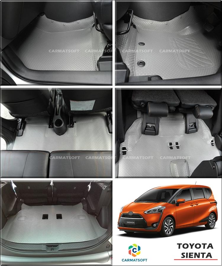 ยางปูพื้นรถยนต์ SIENTA รุ่นMiniMat กระดุมเม็ดเล็ก PVC รีดขอบ สีเทา (เต็มคัน) สวยงามเข้ารูป ทนทานที่สุด