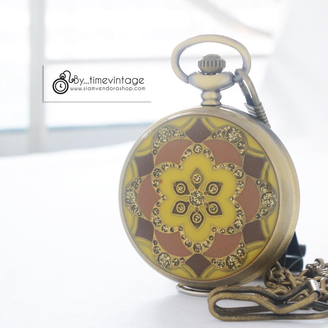 นาฬิกาล๊อคเก็ตฝาทึบสีน้ำตาล Brown Antique Brass Stone Flower (พร้อมส่ง)