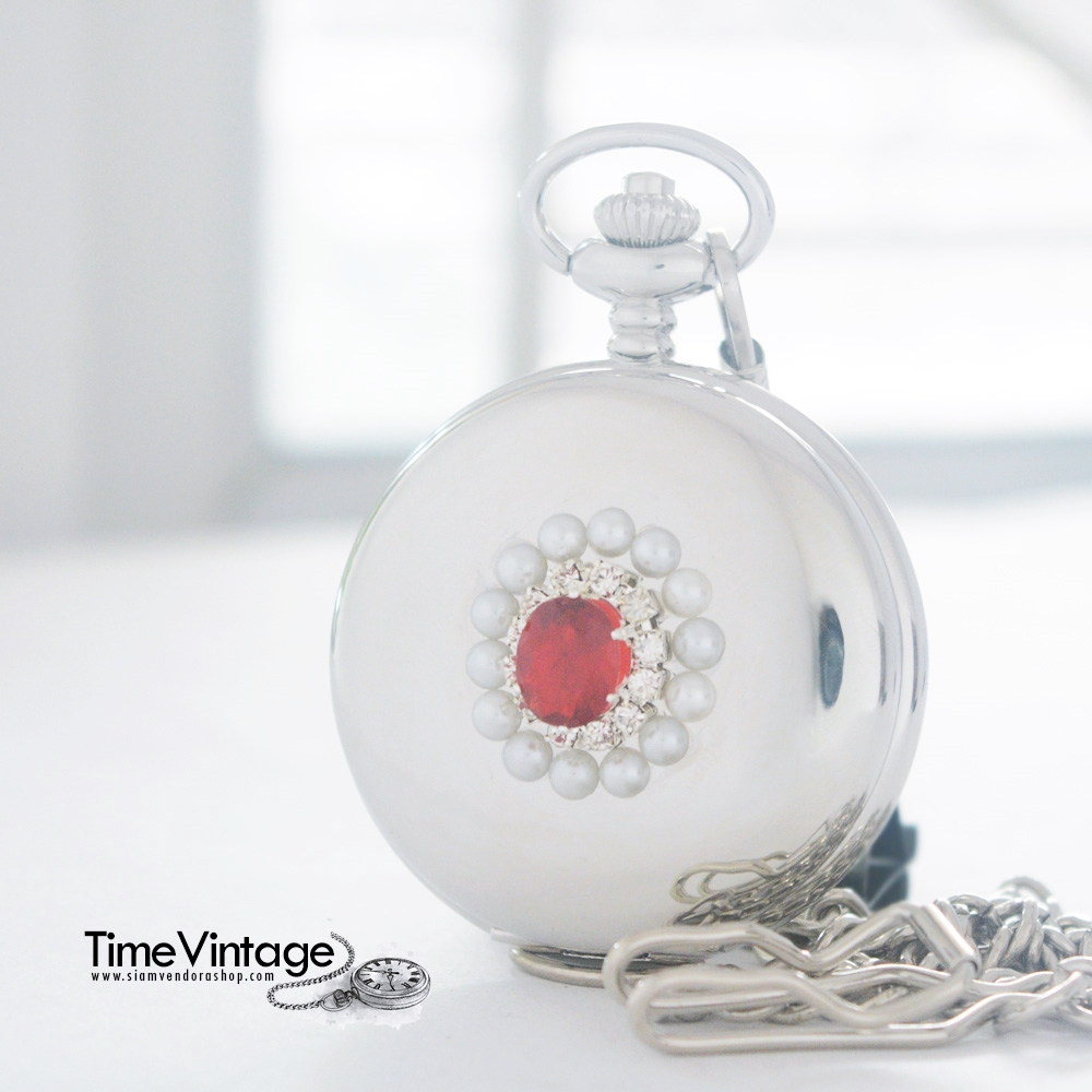 ของขวัญวันเกิดของคนเกิดวันอาทิตย์ นาฬิกาพกประดับคริสตัลสีแดง Ruby