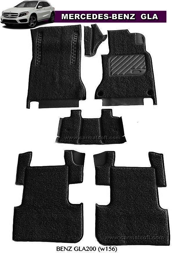 พรมดักฝุ่นไวนิล BENZ GLA200 ,GLA250 W156 รีดขอบ สีดำ