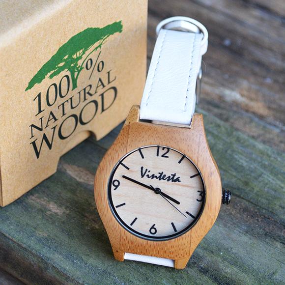 นาฬิกาข้อมือไม้ไผ่ธรรมชาติ สายหนังสีขาว- Classic White(พร้อมส่ง)