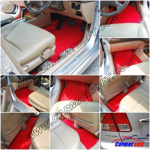 พรมปูพื้นรถยนต์ CIVIC DIMENSION ลายกระดุม สีแดง เต็มคัน เข้ารูป100%