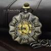 นาฬิกาพกสีทองเหลืองวินเทจระบบถ่านควอทซ์ ลาย Antique 6 roses (พร้อมส่ง)