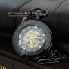 นาฬิกาวินเทจแบบกลไกไขลานสีดำ ฝาคริสตัลใส (พร้อมส่ง)